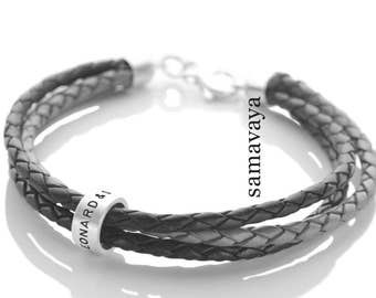 Leather Bracelet 3-in-1 roll 925 silver bracelet with engraving men's Jewelry