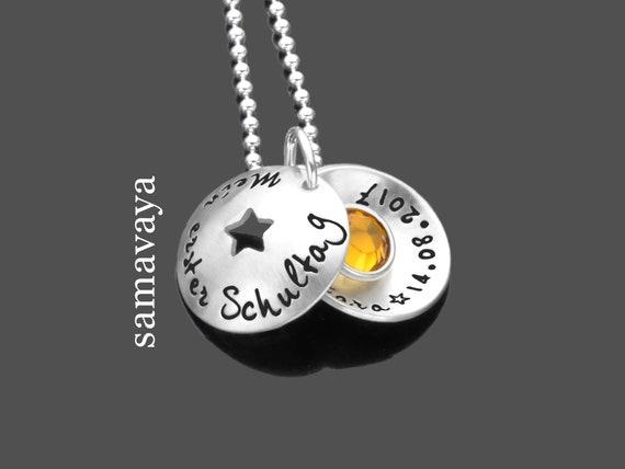 Namenskette Mein 1schultag 925 Silberkette Geschenk Zur Einschulung Kinderkette Geschenk Zum Schulanfang Schultüte Zuckertüte