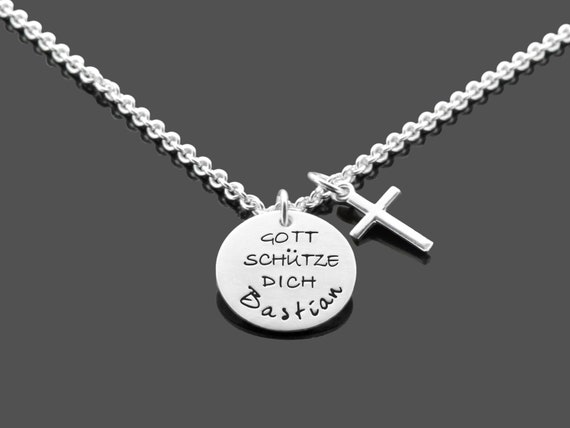 Taufkette Schutz Engel im Kreuz Anhänger mit Gott schütze Dich Kette Silber 925
