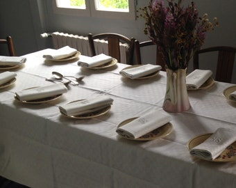 Tablecloth and 12 napkins damask linen, French vintage, Table sets, linen, dining,