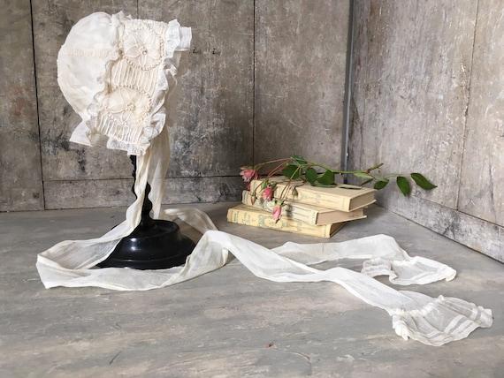 Antique lace baby bonnet