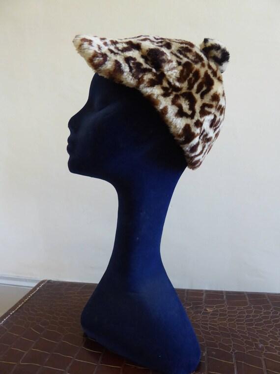 Leopard print sheepskin hat