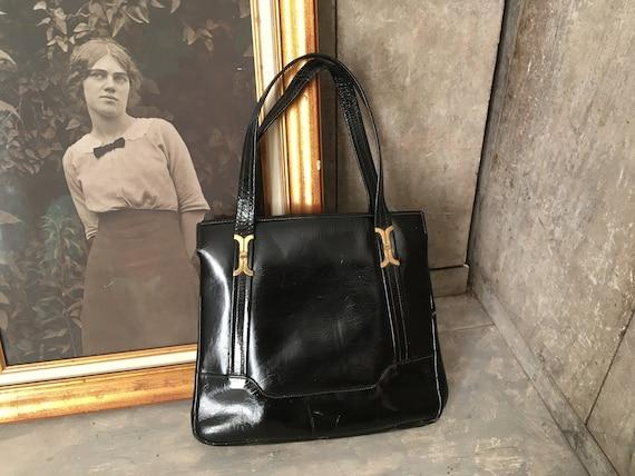 1960s patent leather handbag