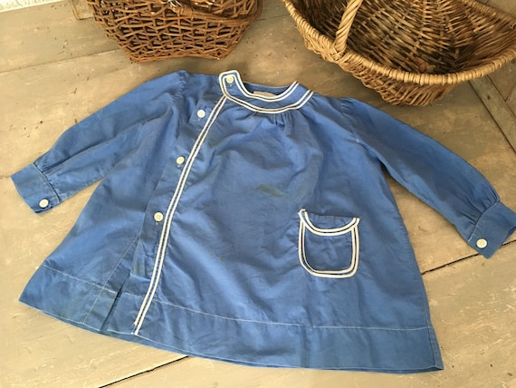 French childs antique school smock