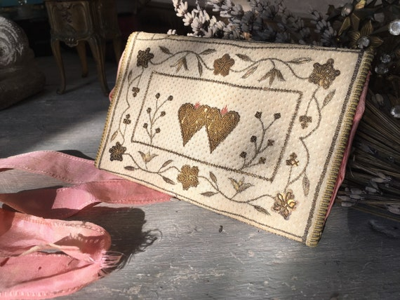18th century embroidered pocketbook