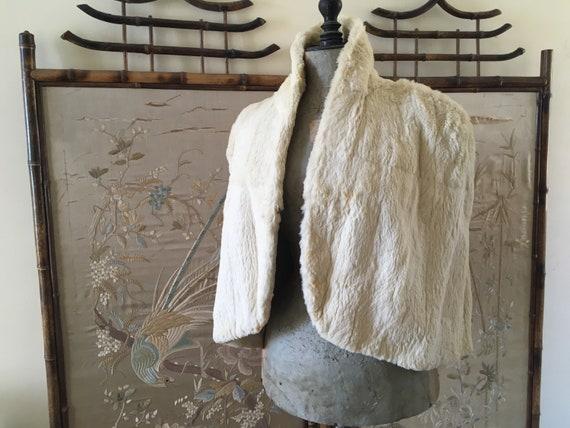 1930s white rabbit fur shrug
