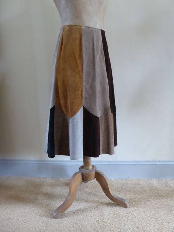 1970's patchwork suede skirt