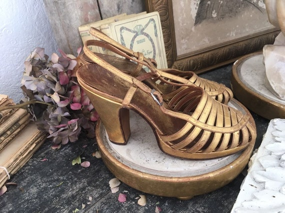 1930s Gold lame leather shoes