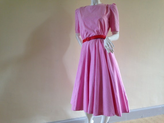 1950's pink gingham dress with circle skirt