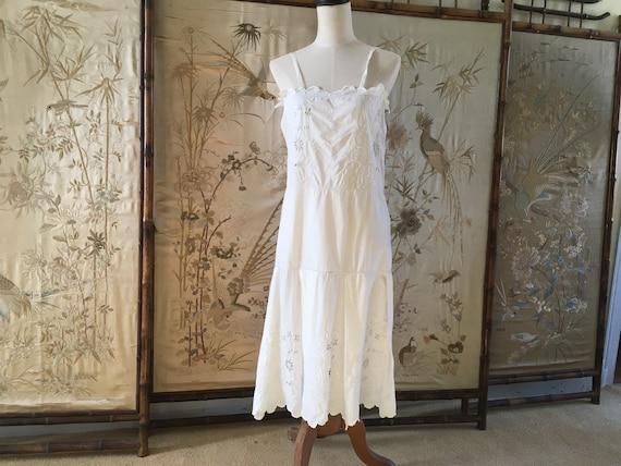 1920s white cotton embroidered slip dress