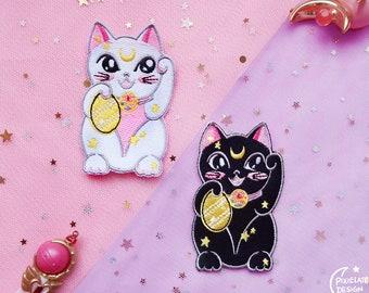 Magical Lucky Cats Patches  // Luna, Artemis, sailor moon, anime, kawaii, white cat, black cat,  PixielateDesign