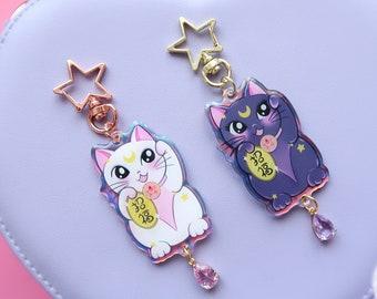 NEW! Magical Cats Keychains - Iridescent Rainbow // moon, stars, artemis, luna, sailor moon, magical girl, lucky cat, lucky charm