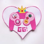 GG! Large Embroidery Patch - PixieLateDesign, Gamer Girl, Gamer, Video Game, Switch, Pastel, Kawaii, Heart, Gameboy
