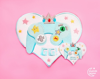 Rosalina GG! Large Embroidery Patch //  PixieLateDesign, Gamer Girl, Gamer, Video Game, Switch, Pastel, Kawaii, Heart, Gameboy, Anime