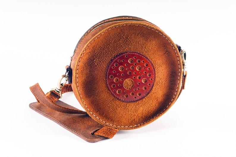 Round leather bag Circle bag Round bag Suede bag Circle  73c2549c7d518