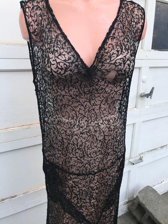 Vintage 1920's Black Lace Long Authentic Dress