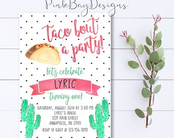 Watercolor invite etsy taco birthday invitation taco bout a party invite taco invitation cactus birthday birthday invitation watercolor invite taco birthday stopboris Gallery