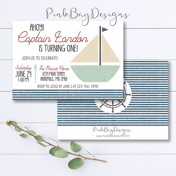 Ahoy Birthday Invitation Nautical Boy