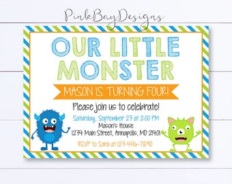 Monster Birthday Invitation, Monster Invitation, Monster Birthday Party, Monster Birthday, Monster Party Invite, Out Little Monster, Invite