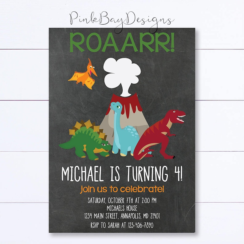 Chalkboard Dinosaur Invitation Birthday Roar Invite Party