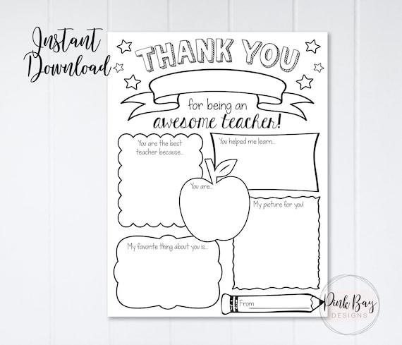 Teacher Appreciation Week Printable Teacher Survey Teacher Etsy