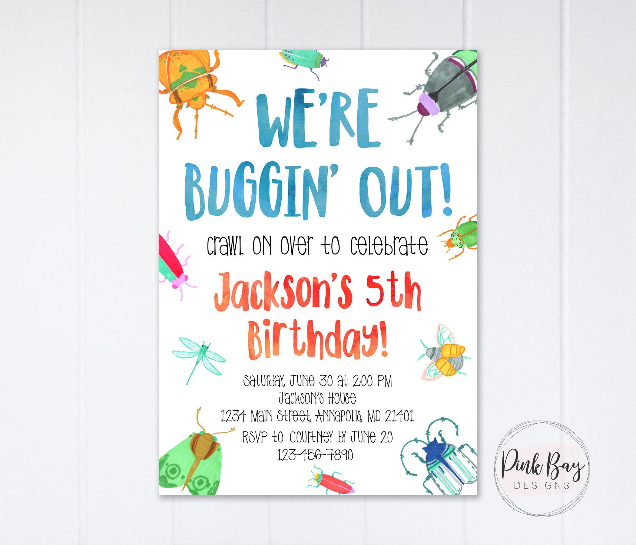 Bug Birthday Invitation Bugs Birthday Invite Insect | Etsy
