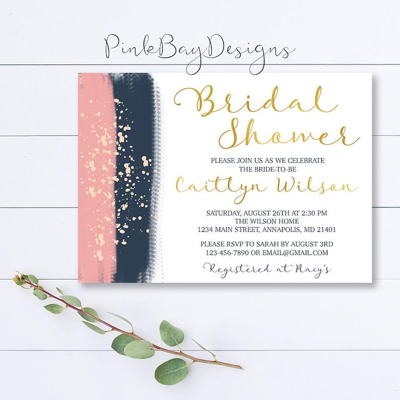 f5fd3df8f148 Navy And Blush Bridal Shower Invitation Brush Stroke Bridal