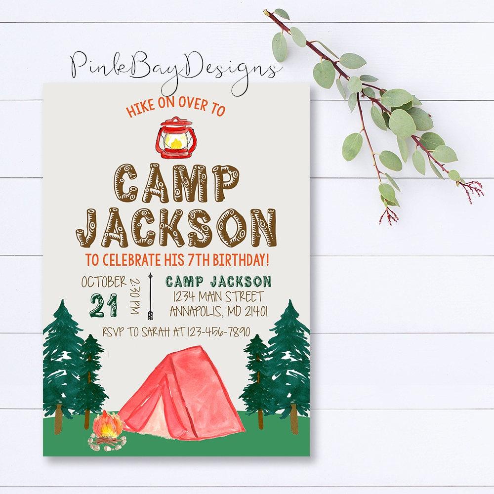 Camping Birthday Invitation Camping Party Invitation Camping | Etsy