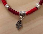 Red Beaded Hamsa Kabbalah Bracelet