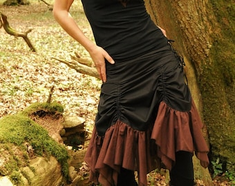 Black brown skirt, Bustle skirts, Gothic wear, Steampunk clothing for women, Gypsy clothes for her, Funky style, Hippie Festival fashion