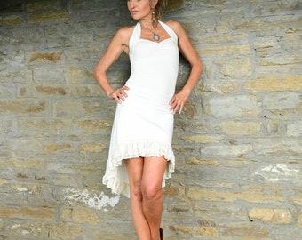 Bohemian Wedding Dress, Boho Clothing, Goddess Festival Clothes, High Low Simple Wedding Dress, Short Wedding Dress, White Beach Dress