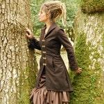 Steampunk coats for women, Designer outwear, Wool overcoat, Festival jacket, Pixie Warm wear, Long brown coat for her, Fall Winter fashion