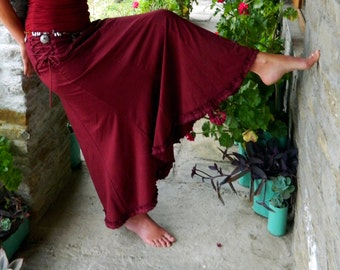 Maroon maxi skirt, Gypsy clothes for women, Long Boho skirts, Hippie clothing for her, Festival fashion, Winter wear, Funky style, Goa chic