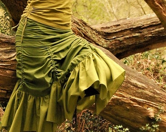 Steampunk skirts, Fairy clothing, Green Gypsy skirt,  Funky clothes for her, Festival fashion for women, Bustle wear, Goa style, Hippie chic