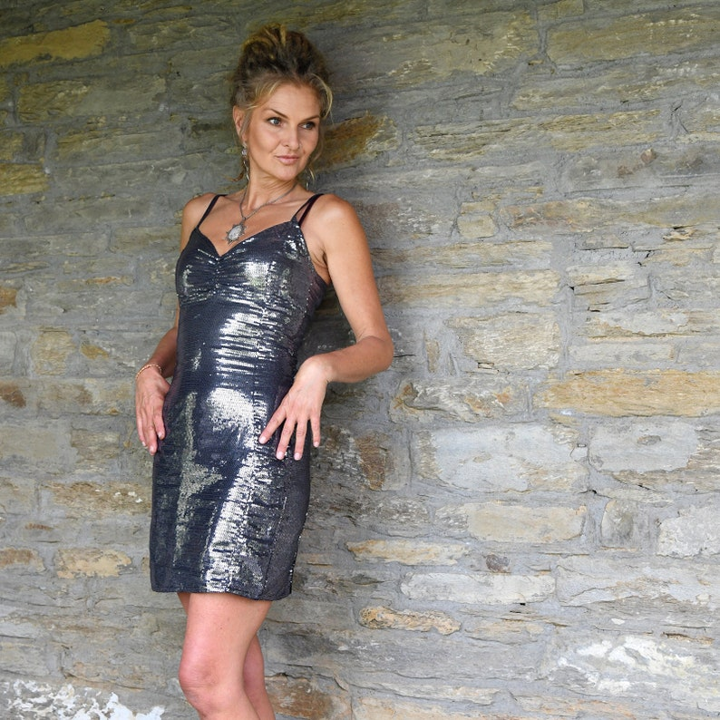 10a4042eea Cocktail Dress Silver Sequin Dress Party Fashion Designer