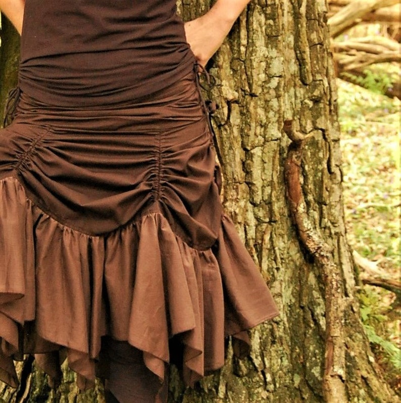 a2b016b4ea9 Brown boho skirt Bustle style Steampunk skirts Funky