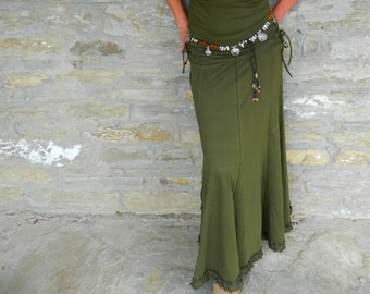 Khaki Green long skirt, Gypsy maxi skirt, Boho clothing for women, Hippie clothes, Natural wear for her, Festival style, Funky fashion
