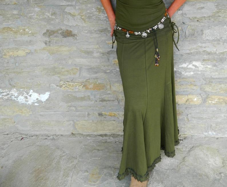 Khaki Green long skirt Gypsy maxi skirt Boho clothing for image 0