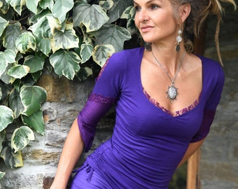 Fantasy top, Festival blouse, Purple clothing, Goa clothes for women, Funky shirt, Her fairy wear, Tribal fashion, Hippie style, Gypsy chic