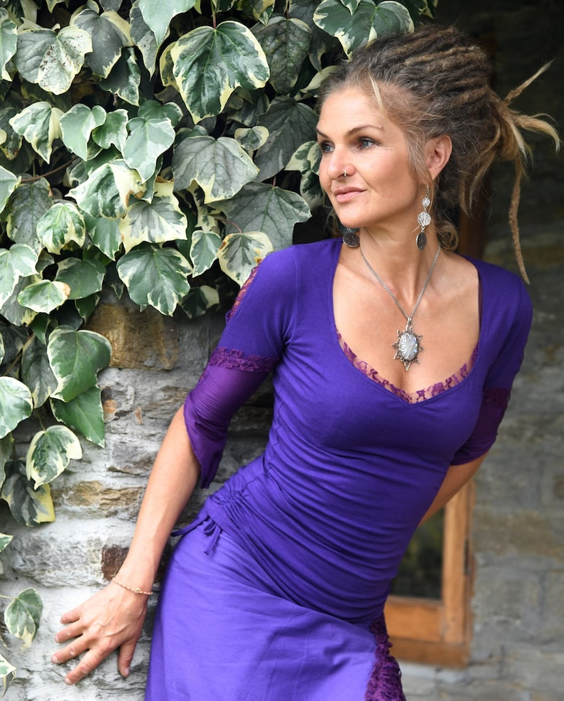 Fantasy top Festival blouse Purple clothing Goa clothes for image 0