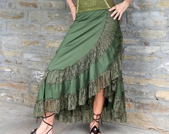 Women Clothing, Dark Green Skirt, Boho Style, Green Maxi Skirt with Frill, Gypsy Fashion, Bohemian Wear Hippy Clothes, Burning Man outfit
