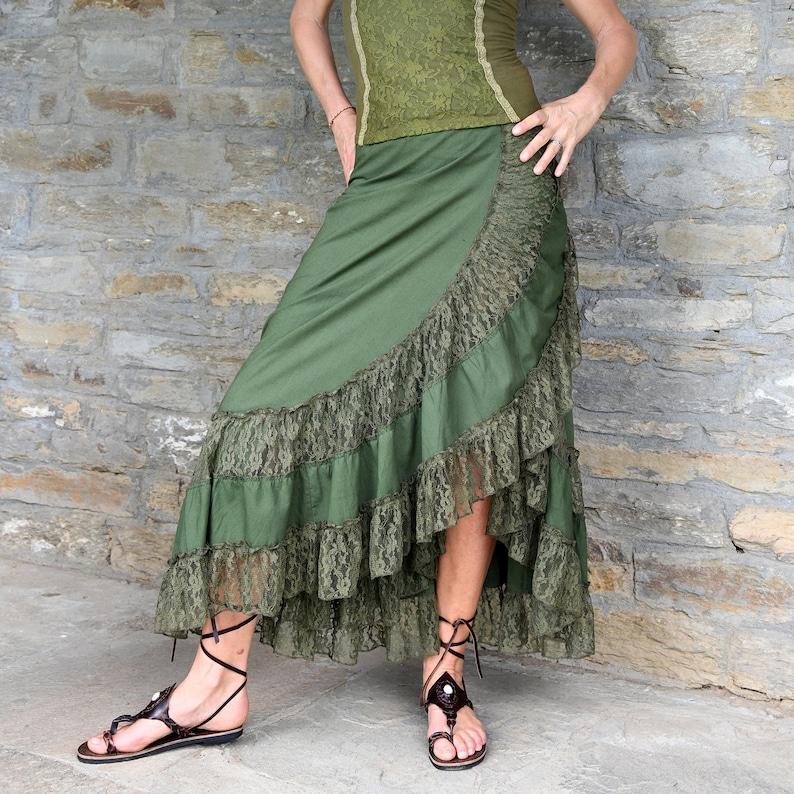 Women Clothing Dark Green Skirt Boho Style Green Maxi Skirt image 0