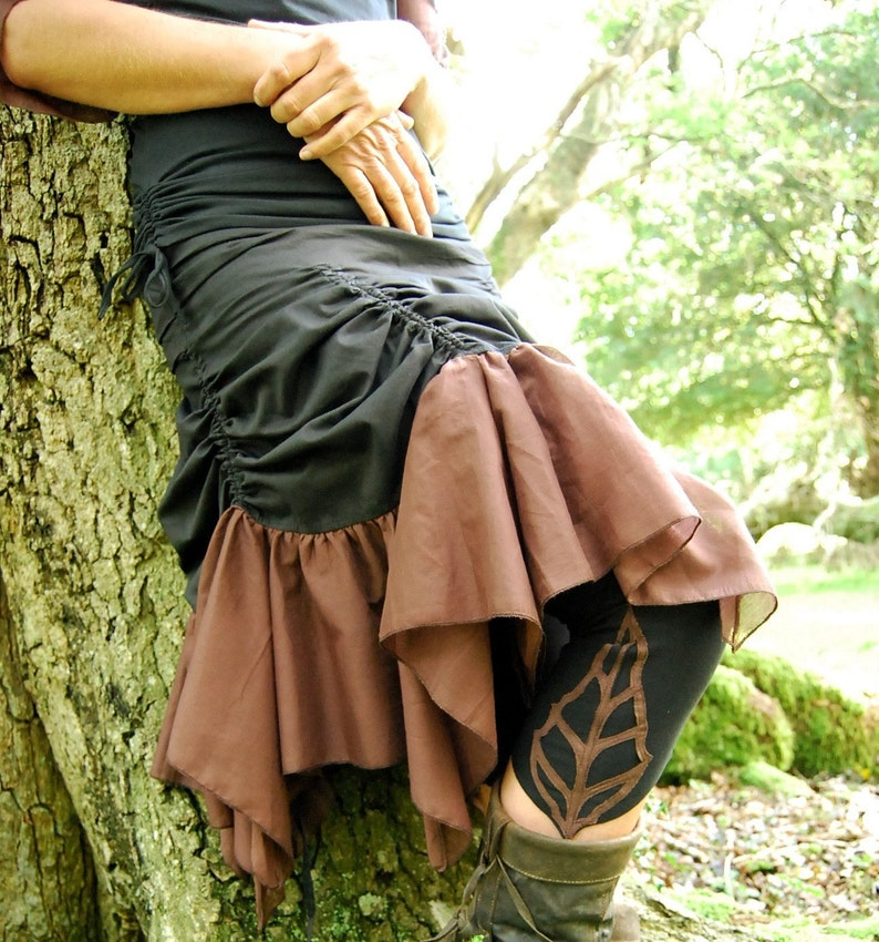 41953326d5a Black brown skirt Bustle skirts Gothic wear Steampunk
