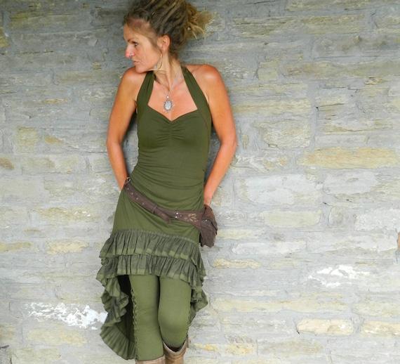 a347fa8c25531 Kaki vert basse haute robe Festival de vêtements pour elle   Etsy