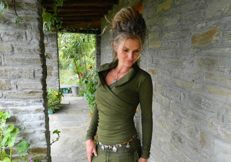 Long sleeved top for women khaki blouse Open cowl neck image 0
