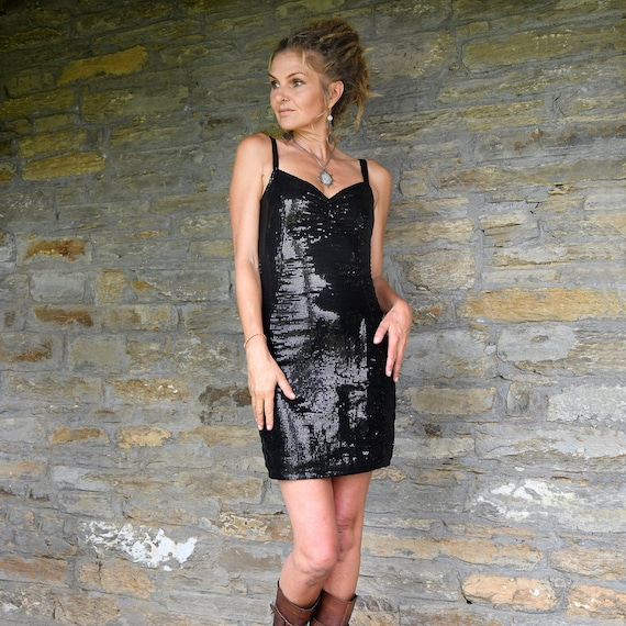 Evening Wear Black Sequin Dress Party Style Little Black Etsy