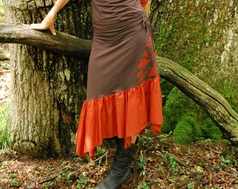Brown Psy skirt, Fairy fashion, Tribal skirts, Trance clothing for women,  Earthy wear, Hippie Boho clothes, Festival chic,  Her gypsy style