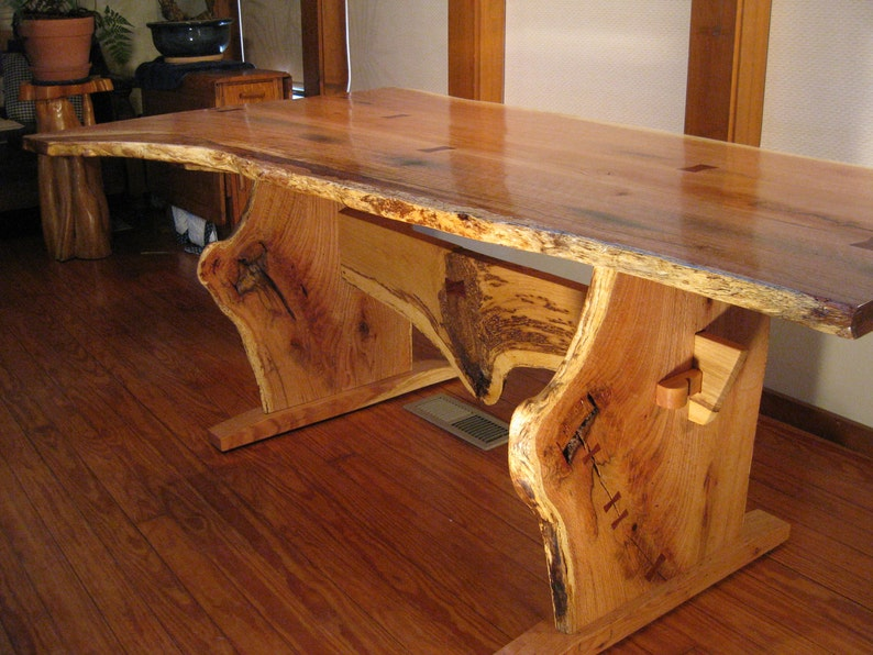 Phenomenal Live Edge Quartersawn Red Oak Cherry Trestle Dining Table With Personality Download Free Architecture Designs Crovemadebymaigaardcom