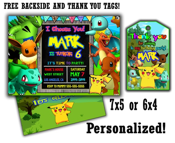 Custom Pokemon Birthday Invitations Today Only Free Backside And Thank You Card Etsy