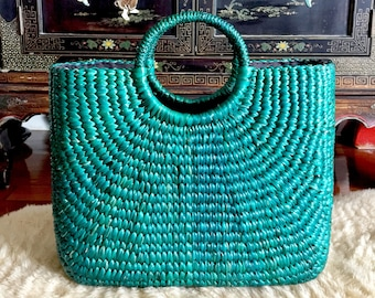 18f503523 Large Green Straw Bag,Seagrass Bag,Straw Basket Tote,Straw Beach Bag,Beach Basket  Bag,Straw Beach Basket,Straw Basket Bag,Market Straw Bag